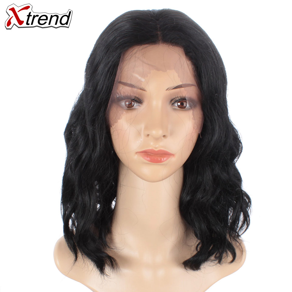 Xtrend Wig Short Lace-Wig Body-Wave Middle-Part Black-Color Pelucas-De-Mujer 14inch Synthetic