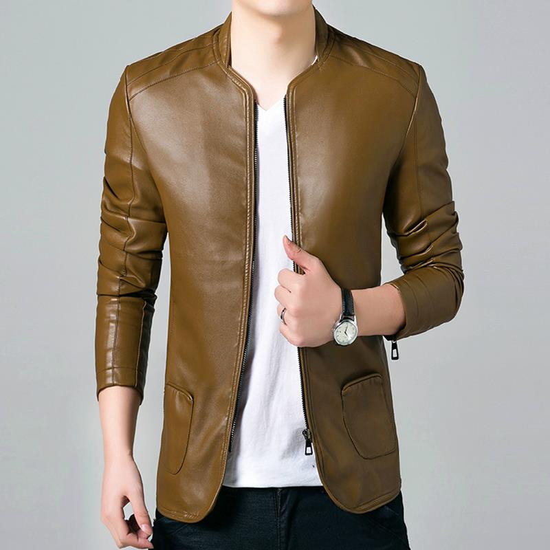 British Style Solid PU Leather Jacket Men 2017 Brand Clothing Man Slim Fit  Male Suede Brown Black Mens Jackets and Coats Sale 272b7d8962a3
