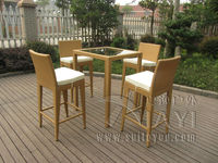 5pcs Luxury All Weather Resin Wicker Bar Set For Home Patio Balcony