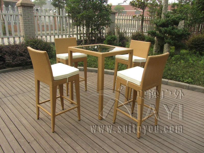5pcs Luxury All Weather Resin Wicker Bar Set For Home Patio / Balcony(China)