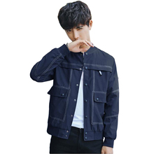 New Fashion Men's Bomber Jacket Slim Fit Male Jean Retro Denim Coat Overcoat Tops Blue Autumn Baseball Clothes Short O-Neck XXXL