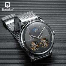 Bestdon כפול Tourbillon גברים של שעון אופנה אוטומטי מכאני שעונים ירח שלב נירוסטה שוויץ יוקרה מותג