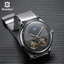 Bestdon Çift Tourbillon erkek saati Moda Otomatik mekanik saatler Ay Fazı Paslanmaz Çelik İsviçre Lüks Marka