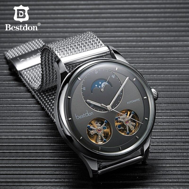 Automático dos Homens Relógio de Forma Fase da Lua de Aço Inoxidável de Luxo da Marca Bestdon Duplo Turbilhão Mecânico Relógios Suíça