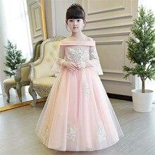 2017 Nouveaux Enfants De Luxe Filles Broderie Princesse Robe Enfants De Mariage D'anniversaire Partie Longue robe de Bal D'été Moitié Manches Robe