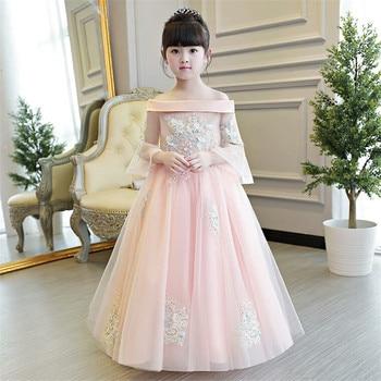 2019 New Luxury Children Girls Embroidery Princess Dress Kids Wedding Birthday Party Long Ball Gown Summer Half Sleeves Dress