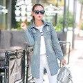 Новый 2017 Корейский Случайные Джинсовой Лоскутное Пальто Старинные размер Свободный Плюс Долго Жан Пальто Весна Осень Джинсы Пальто MZ810