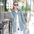 New 2017 Korean Casual Denim Patchwork Overcoats Vintage Loose Plus size Long Jean Coat Spring Autumn Jeans Trench Coat MZ810