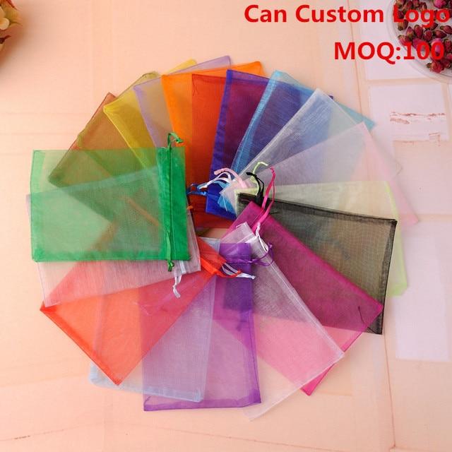 7x9cm Mixed Color Small Tea Bag Packaging Tulle Candy Bags Customize Saco De Tule