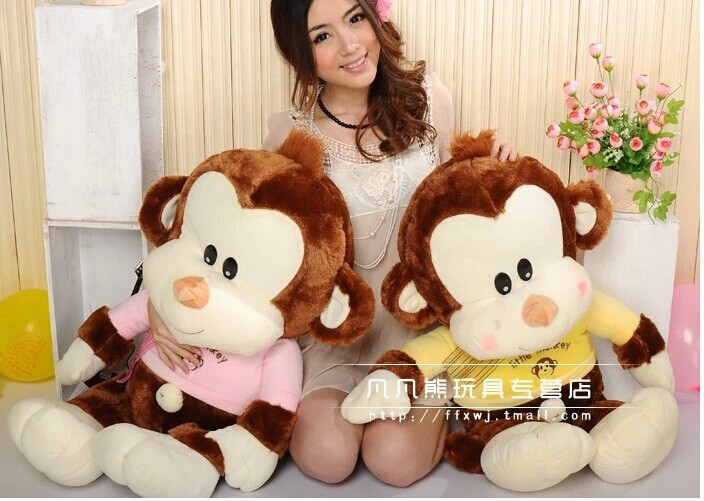 stuffed animal 70 cm monkey plush toy lovely pink or yellow cloth monkey doll throw pillow gift w3561 stuffed animal 44 cm plush standing cow toy simulation dairy cattle doll great gift w501