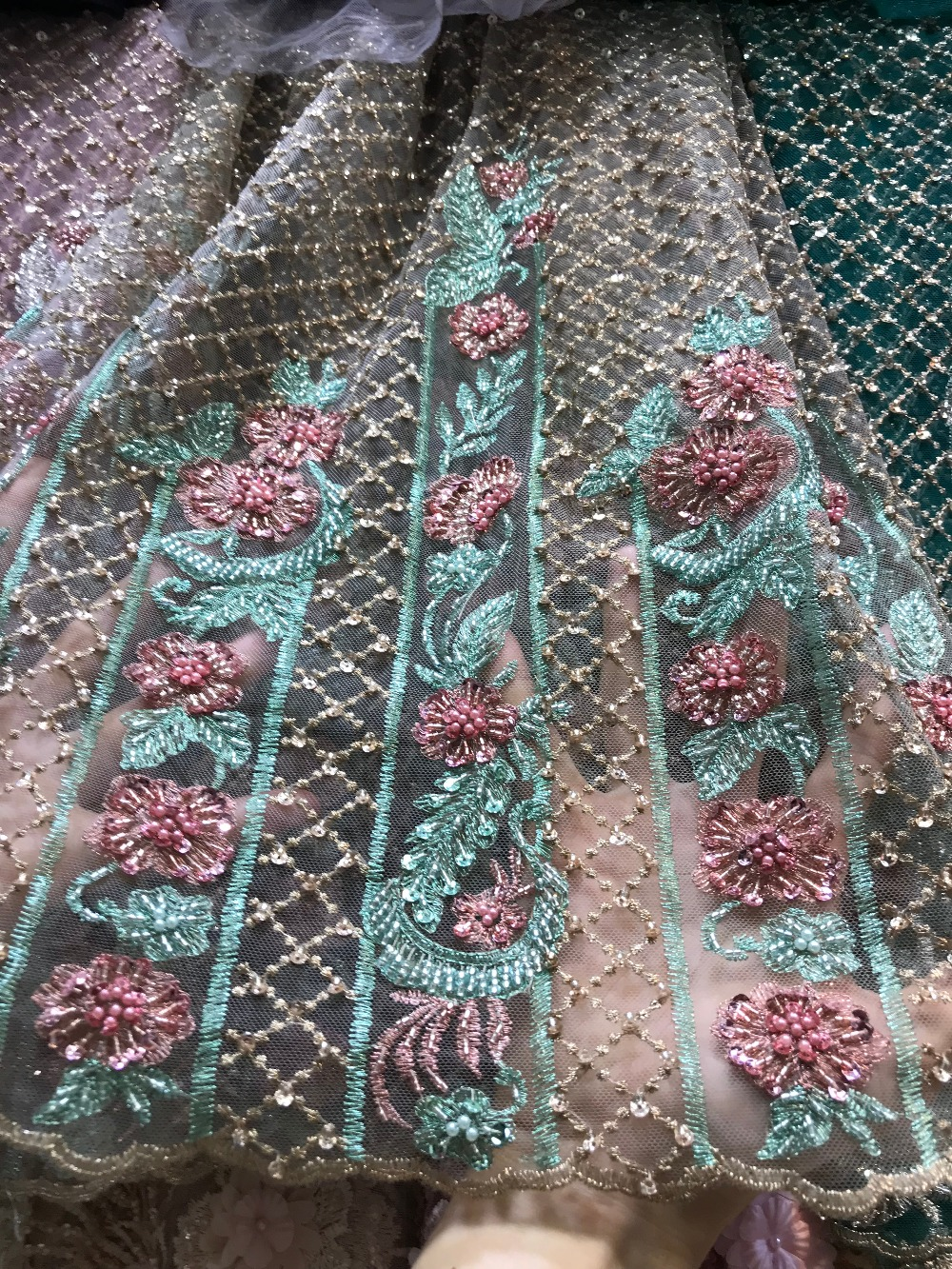 red green beaded french lace stones party wedding bridal dress lace fabric 5 yards voile tulle lace fabricred green beaded french lace stones party wedding bridal dress lace fabric 5 yards voile tulle lace fabric