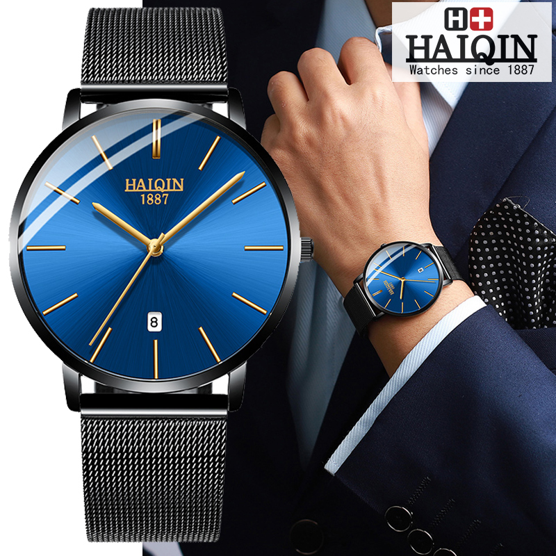 HAIQIN Couple Watches Mens Watches Top Brand Luxury Watch Men Gold Waterproof Sport Women Wrist Watch Military Reloj Hombres NEW