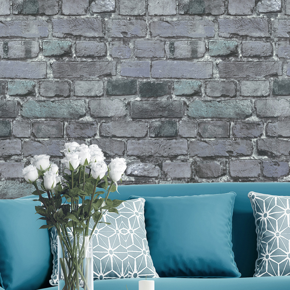 HaokHome 3D Faux Brick Wallpaper Rolls Dark Gray/Black/Blue Distressed Murals Home Kitchen Bathroom Decoration 20.8 x 32.8ft мозаика l antic colonial frame brick dark 10x20 28 5x31 1