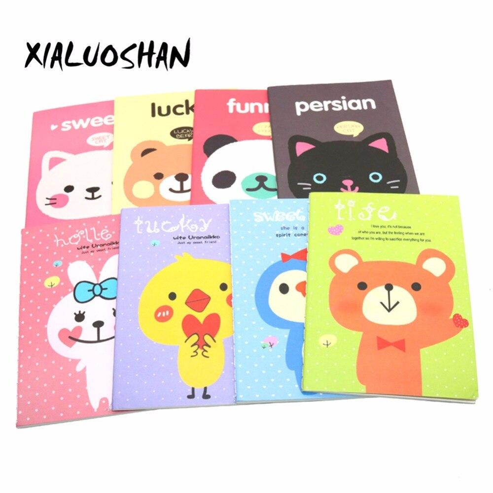 4 Pcs/lot Korean Animal Panda Cat Bear Rabbit Kawaii Mini Notepad Cute Notebook Cartoon Note Book Small School Supplies