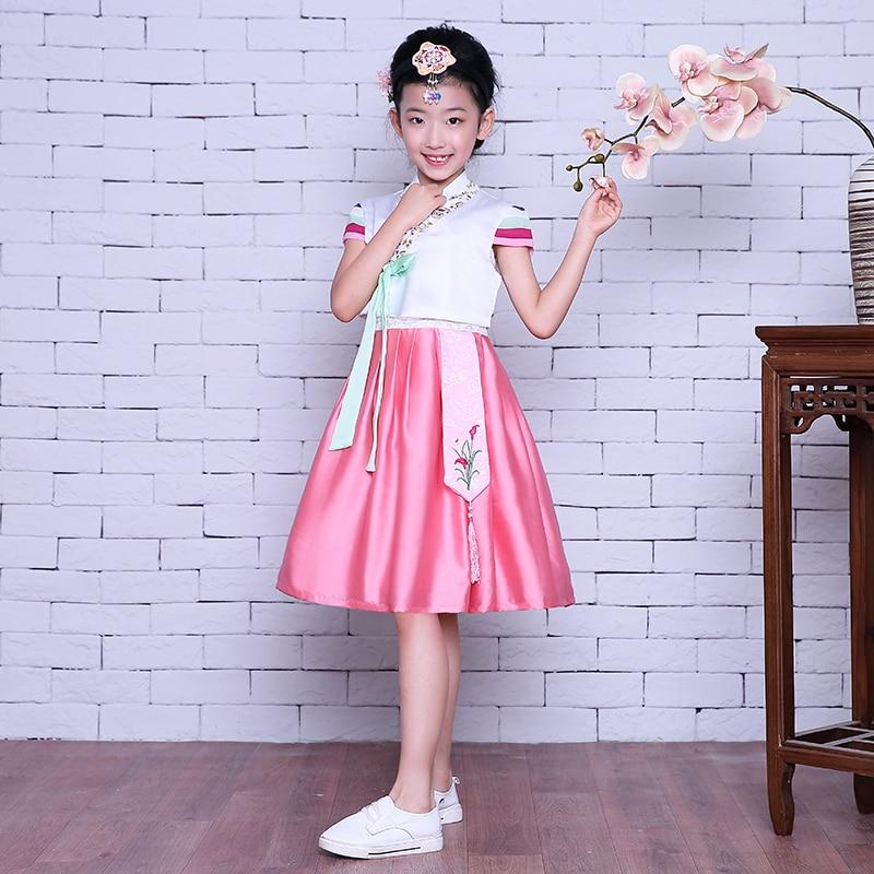 Korean Hanbok For Girls Short Sleeve South Korea's Traditional Clothing Costumes Dancing Girls Hanbok Stage Performance.