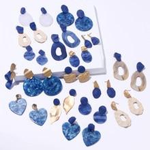 Богемные модные синие золотые геометрические акриловые серьги KOMi, Необычные полые кольца, сердце, листья из смолы, подвесные украшения C20217