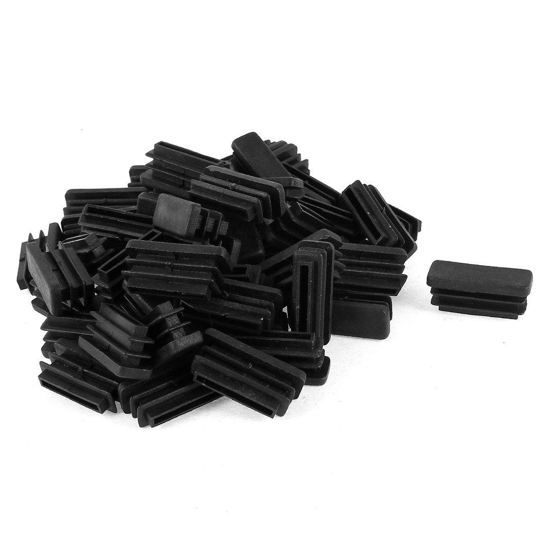 Plastic Rectangle Plug Furniture Tubing Protectors 10mm X 30mm 50 Pcs