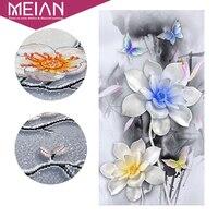 Meian Special Shaped Flower Lotus Diamond Embroidery Full DIY Diamond Painting Cross Stitch Diamond Mosaic Bead
