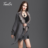 New Winter Womens Fashion Fake Fox Fur Collar Cashmere Sweater Poncho Women Long Thick Knitted Tassel