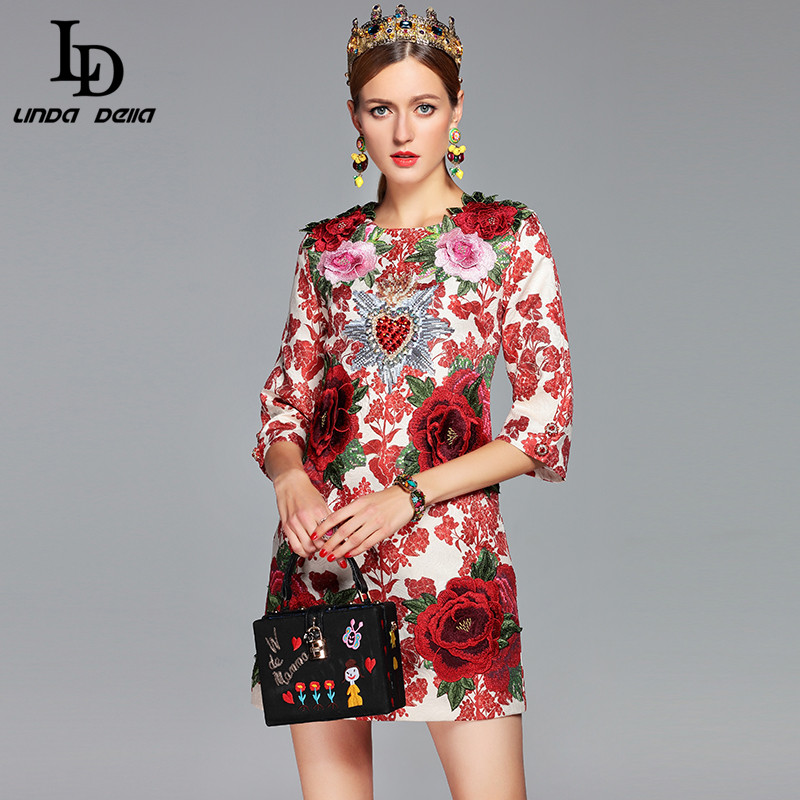 Высокое качество 2018 взлетно посадочной полосы дизайнерское платье женские вечерние элегантные вечерние бисер 3D Цветочные аппликации Винт...