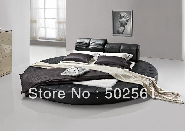 Contemporáneo de california Rey cama redonda de cuero genuino moderno muebles del dormitorio cabecera ajustable