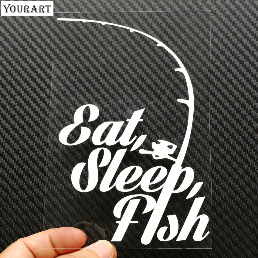 Yourart Fishing Funny Vinyl Decals Car Stickers Styling Sticker Decoration Car Styling Eat Sleep Fish Fishing Stickers for Cars in Car Stickers from Automobiles Motorcycles