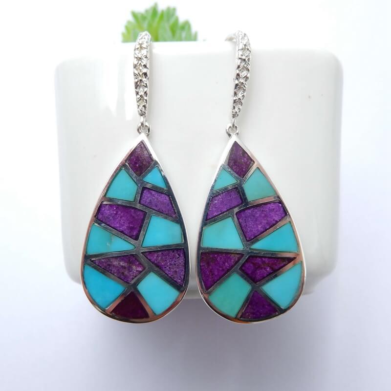 Nouveau design artisanal Turquoise et Sugilite percé Intarsia boucles d'oreilles 925 résultats en argent Sterling, 30x16x2mm, 6.5g-J0031