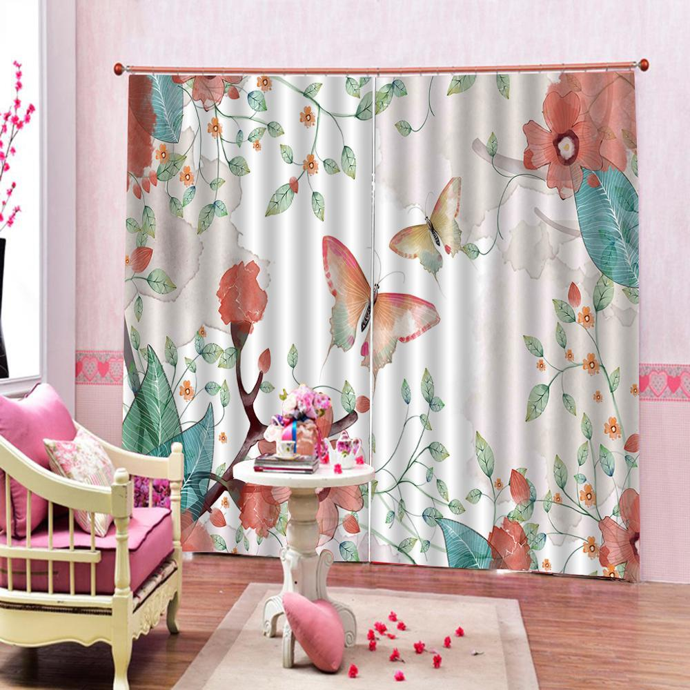 Decoration curtains Luxury Blackout 3D Window Curtains For Living Room Bedroom Customized size butterfly curtains