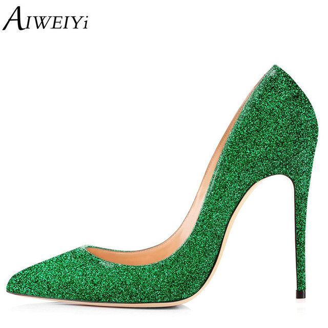 7f9a585c0fb7 AIWEIYi Blingbling Women High Heels Shoes Stilettos High Heels Gold Glitter  Shoes 12cm 10cm 8cm Sexy High Heel Pumps Party Shoes