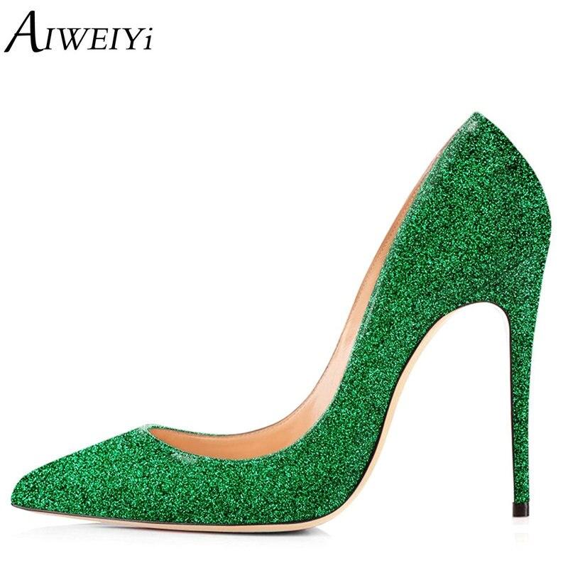 AIWEIYi Blingbling Women High Heels Shoes Stilettos High Heels Gold Glitter Shoes 12cm/10cm/8cm Sexy High Heel Pumps Party Shoes