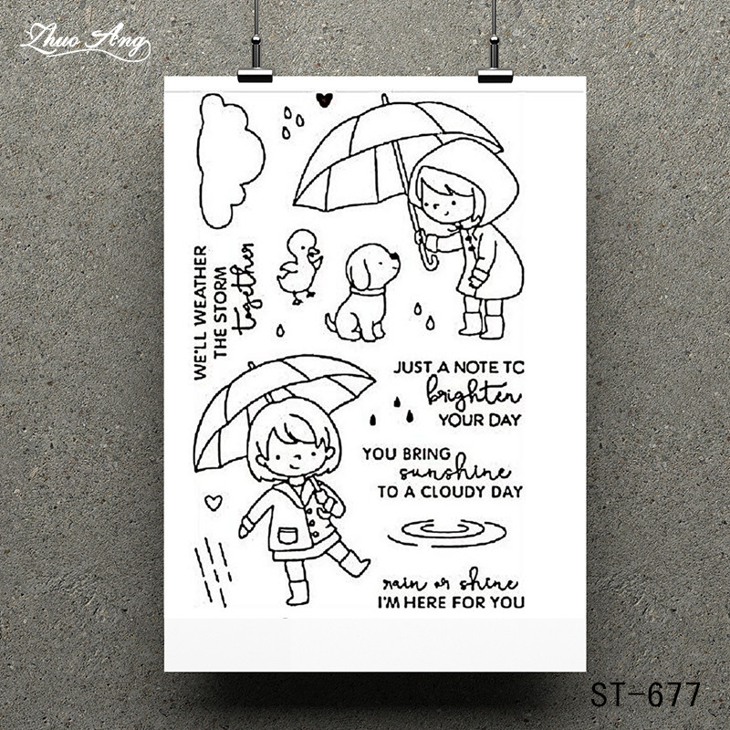 Umbrella Girl Transparent Clear Stamp for Scrapbooking Rubber Seal Paper Craft Stamps Card Making