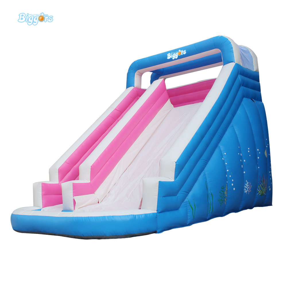 Inflatable Water Slide With Pool Air Inflatated Water Slide Pool For Sale children shark blue inflatable water slide with blower for pool