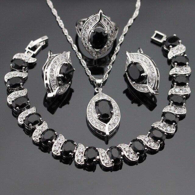 Черный Создания Сапфир Белый Серебряные Цвета Ювелирные Наборы Для Женщин Серьги Браслет Кольца Ожерелье Кулон Бесплатный Подарочная Коробка