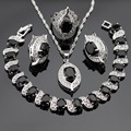 Black Created Sapphire White CZ Silver Color Jewelry Sets For Women Earrings Bracelet Rings Necklace Pendant  Free Gift Box