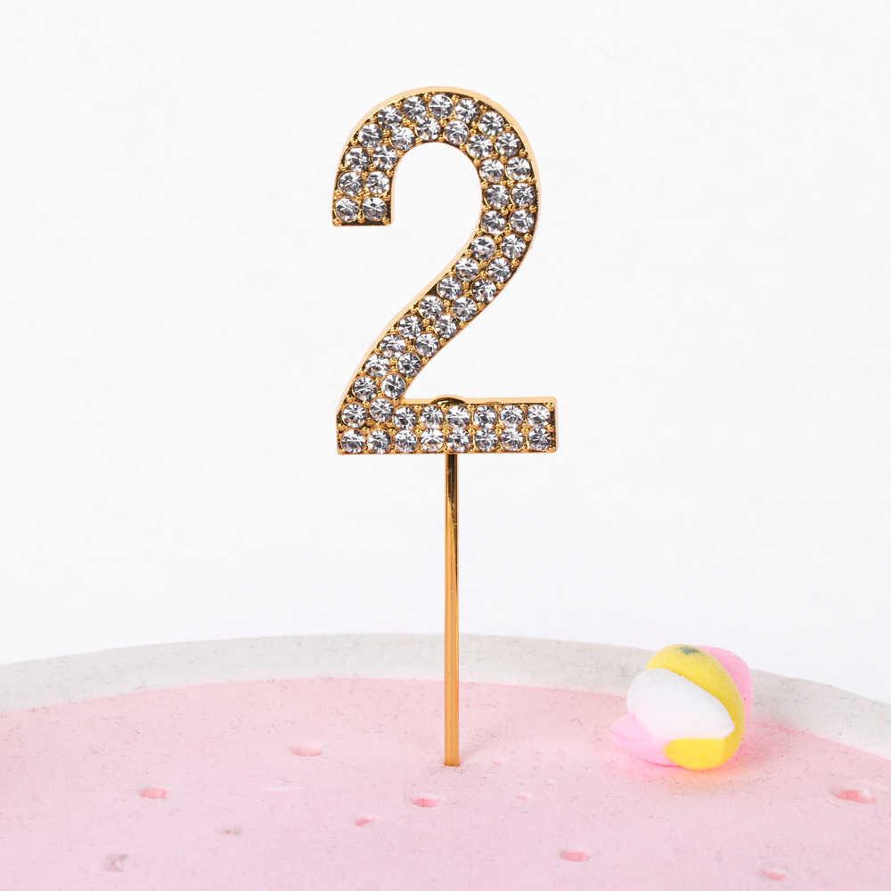 """1PC Numero """"0-9"""" Cake Topper di Oro tempestato di Diamanti Cake Topper per Dessert Anniversario di Matrimonio Compleanno decorazione del partito Forniture di Nozze"""