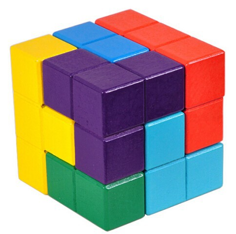 Multi-Color 3D Wooden Soma Puslespill Brain Teaser IQ Mind Wood - Puslespill - Bilde 3