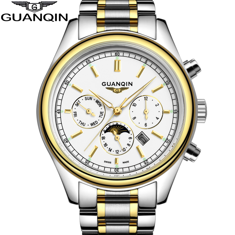 2016 Fashion & Casual Luxury Brand GUANQIN Watches Men Butterfly Stainless Steel Band Clock Quartz Wristwatch Black And Gold