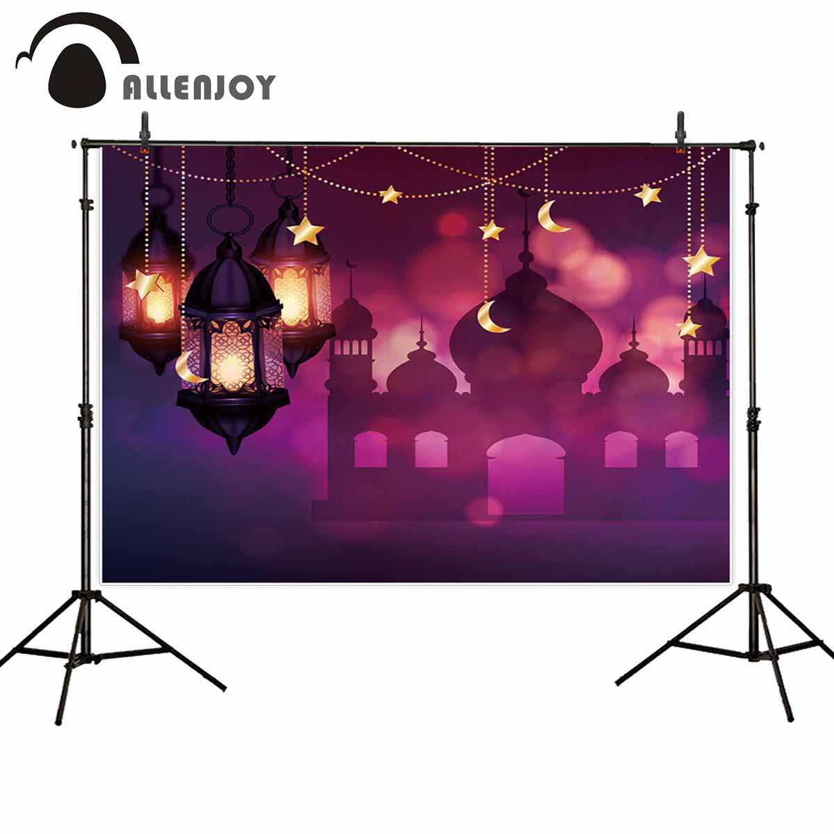Allenjoy eid Muslim background for photo shoot Eid al-Fitr night lantern islam Ramadan Kareem photography backdrops photocall