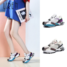 Liren 2019 New Fashion Women Sneakers Flat Platform Shoes Mesh Breathable Lace-up Mixed Colors Casual Ladies Sneaker
