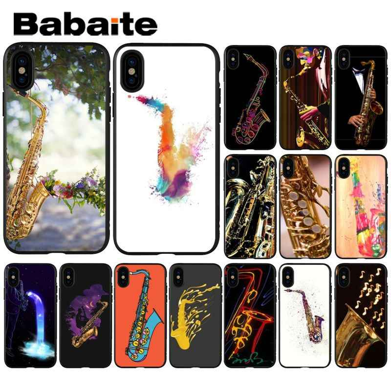Babaite Musical instrument saxophone TPU Soft Silicone Black Phone Case for Apple iPhone 8 7 6 6S Plus X XS MAX 5 5S SE XR Cover