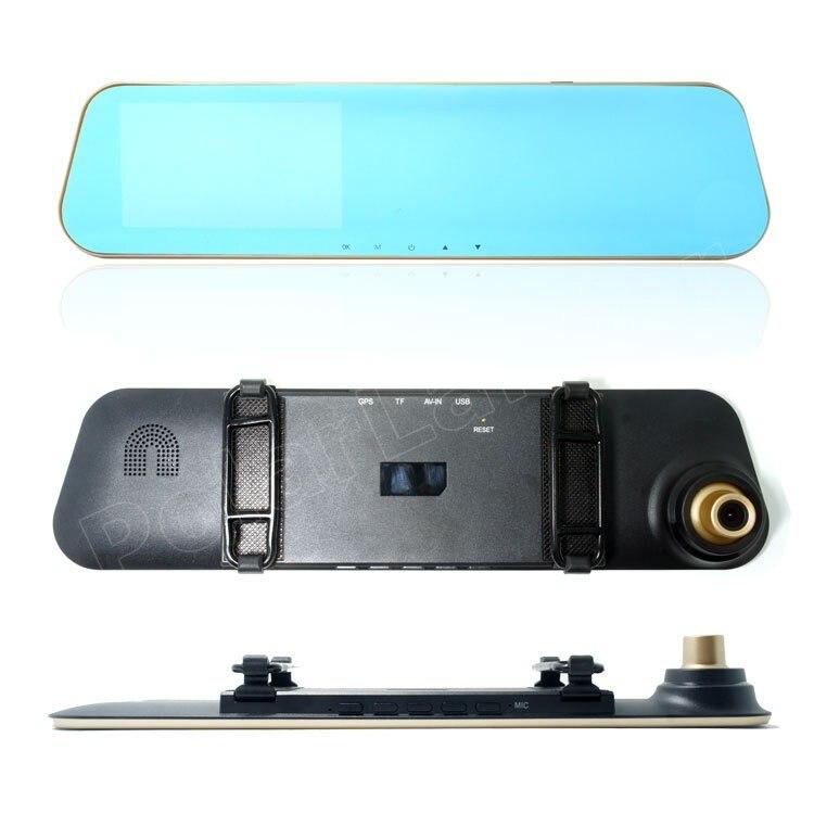 4,3 pulgadas Full HD 1080 P coche DVR espejo de revisión grabadora de vídeo Digital Auto registrador videocámara con cámara trasera dual de la lente - 2