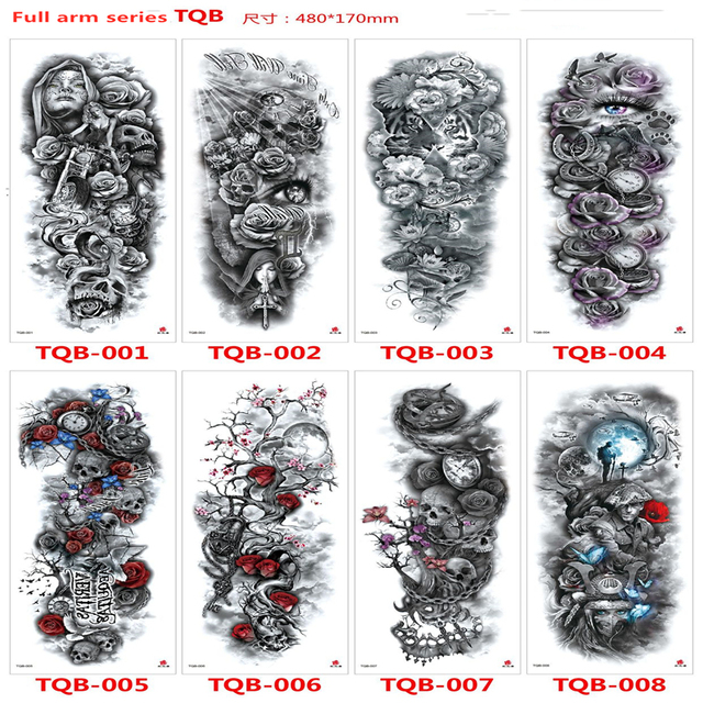 2019 New Full Flower Arm Tattoo Sticker Skeletons and Roses Temporary Body Paint Water Transfer Tattoo Sleeve