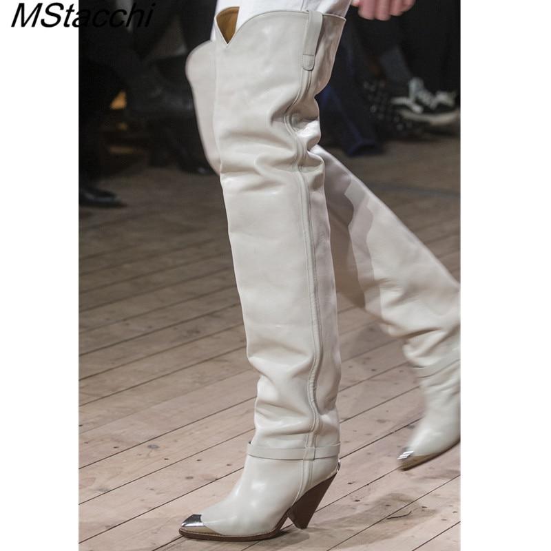 MStacchi 2019 ファッション金属ポインテッドトゥ腿の高ブーツ女性リベットスタッドでショートブーツ装飾スパイク高ヒールブーツ  グループ上の 靴 からの 膝上 ブーツ の中 1