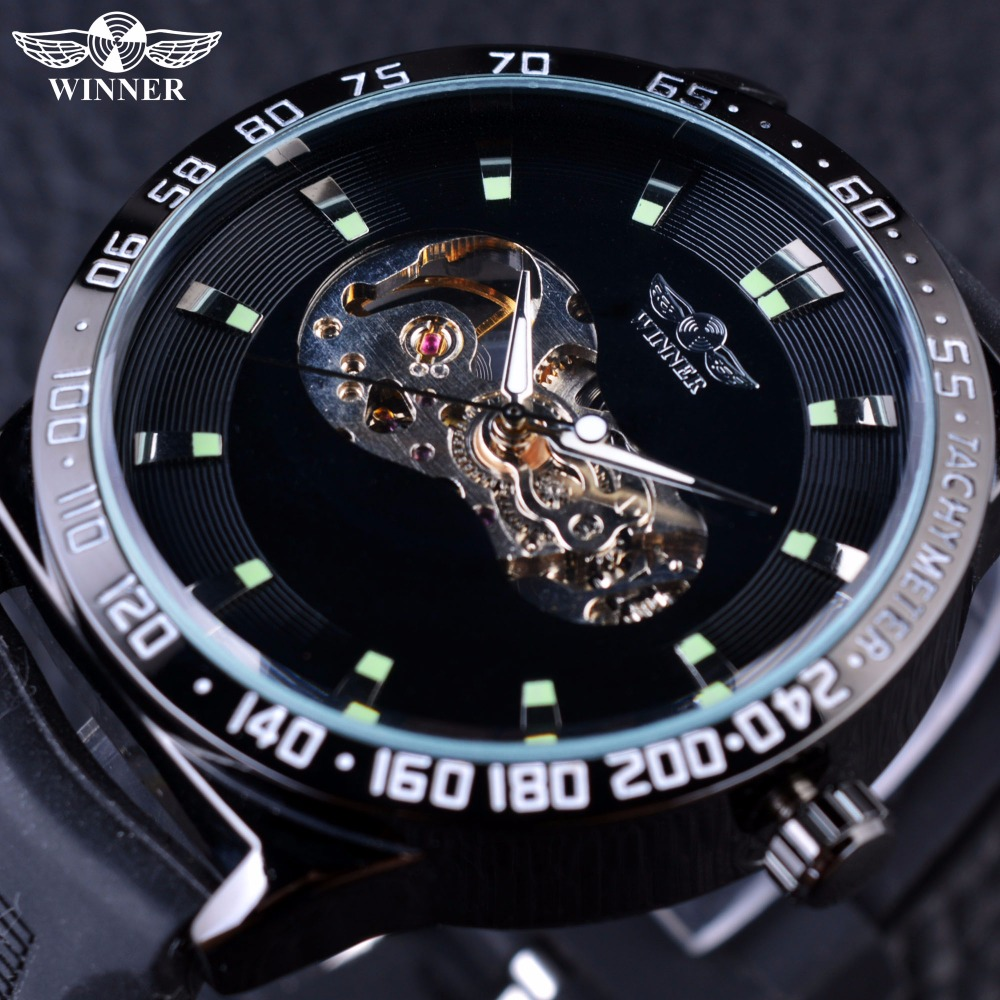 Winner Sport Series Green Black Dial Silicone Strap Automatic Skeleton Watch Men Watches Top Brand Luxury Male Wrist Watch Clock shenhua brand black dial skeleton mechanical watch stainless steel strap male fashion clock automatic self wind wrist watches