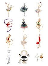 Enamel Ballet Dancer Women Brooches Shinning Crystal Glass Dance Girls Brooches Christmas Gift For Women Hat Bag Clothes Decor(China)