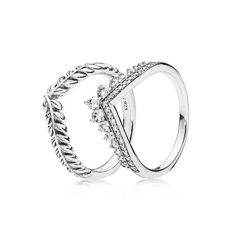 ผู้หญิง 925 Silver Charms แหวน Diy ข้าวสาลีหูสไตล์เจ้าหญิงมงกุฎคริสตัลสำหรับเครื่องประดับสตรี