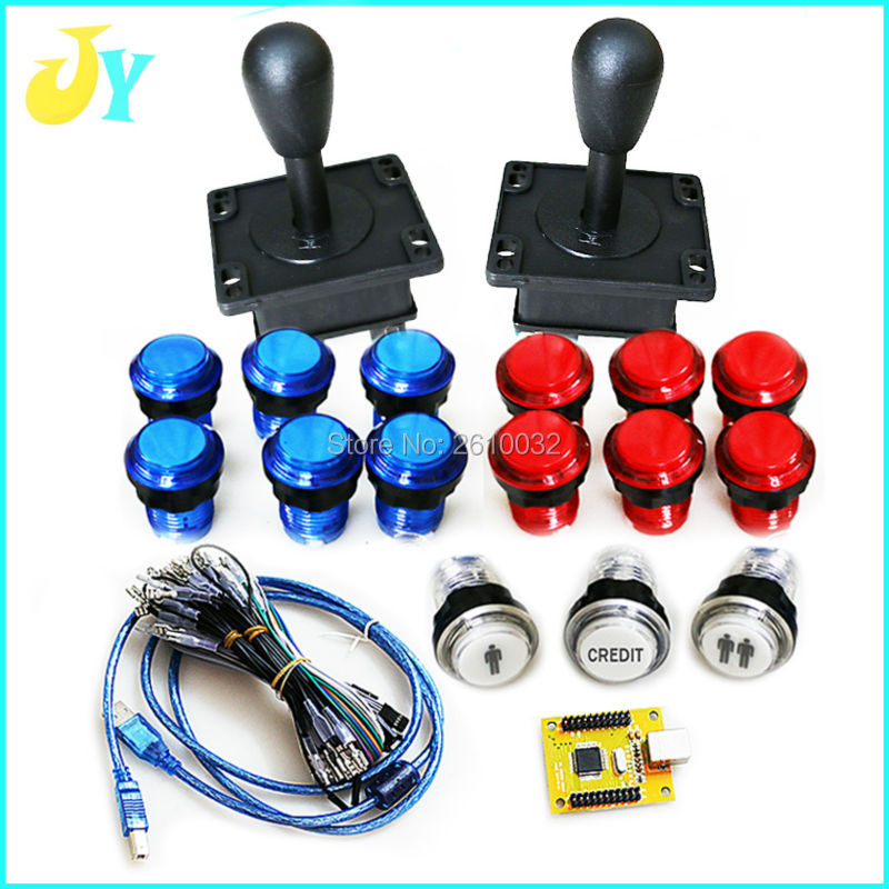 Arcade mame DIY KIT FOR PC PS/3 2 IN 1 to HAPP & ZIPPY joystck LED button interface USB 2 player MAME Interface USB to Jamma-in Coin Operated Games from Sports & Entertainment    1