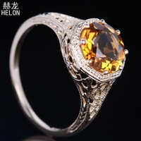 1.5Carat Yellow Flawless Round Natural Citrine Engagement Solid 10K Yellow Gold Ring For Women Wedding Gift Party Trendy Jewelry