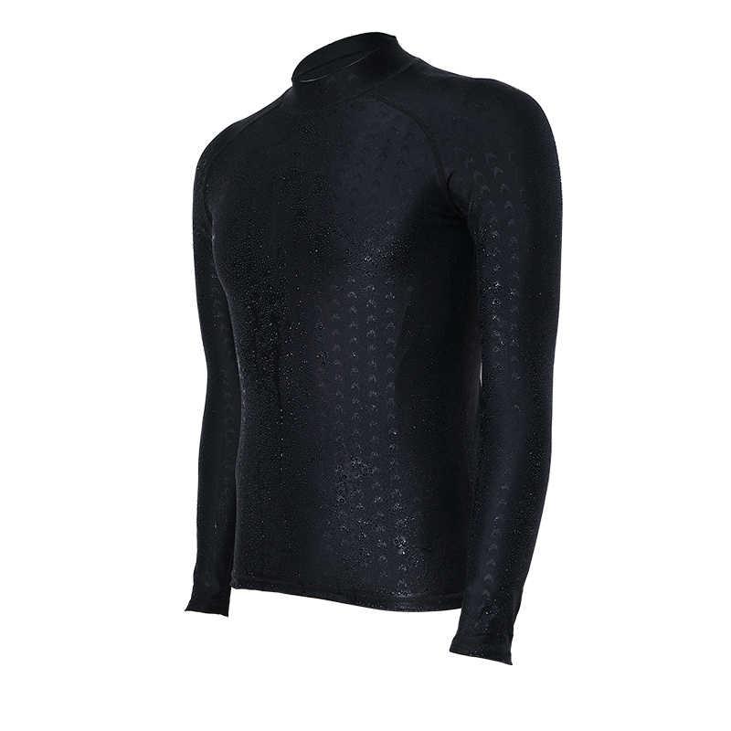 Profesional Pria Wanita Pakaian Selam Lengan Panjang Baju Renang Tabir Surya UV Renang Kemeja Pakaian Menyelam Hitam Papan Selancar Rush Guard