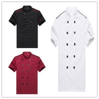 Short Sleeved Chef Service Hotel Working Wear Restaurant Work Clothes Tooling Uniform Cook Tops Kitchen Cook
